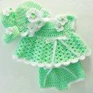 Crochet Green Newborn Dress Set  Baby Dress, Hat, Mary Jane Booties, Diaper Cover