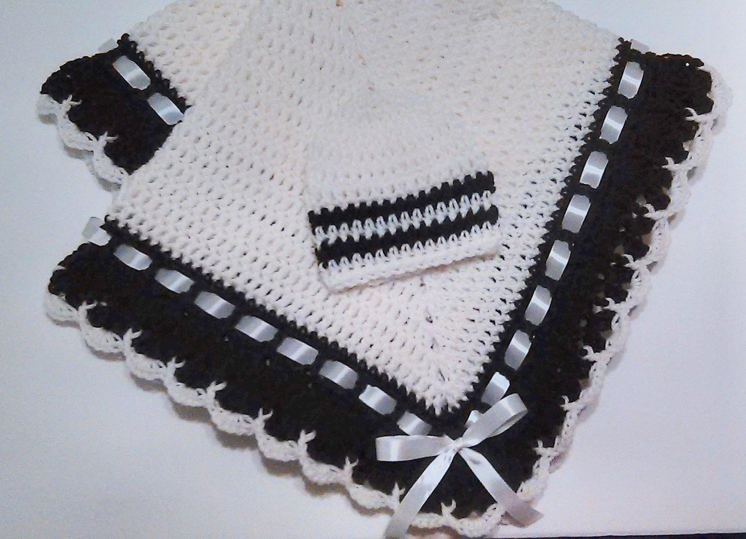 Crochet Baby Blanket Set, Baby Beanie Hat, Beige and Brown, Gender Neutral