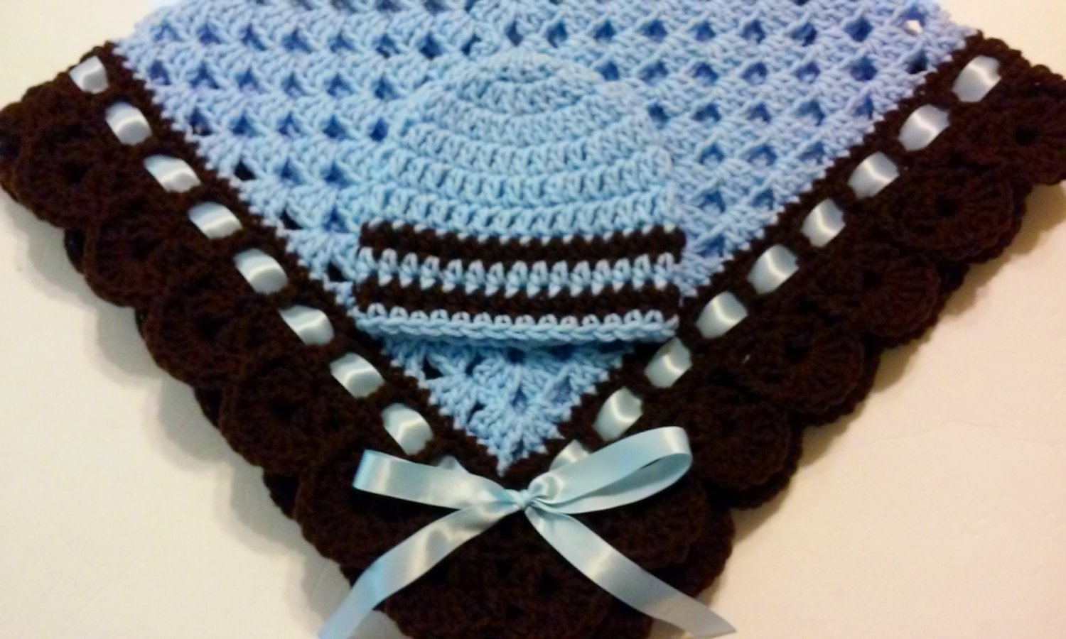 Crochet Baby Blanket Set, Baby Beanie Hat, Blue and Brown, Baby Boy