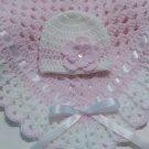Crochet Baby Blanket Set, Baby Beanie Hat, Baby Pink and White, Baby Girls