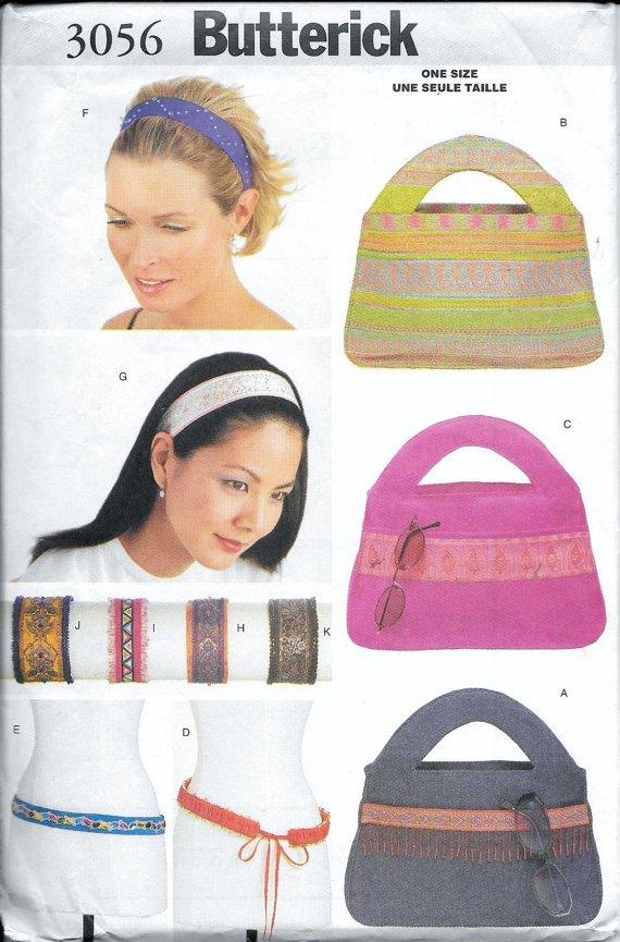 Butterick 3056 Bag Purse Headband Bracelet Belt Sewing Pattern UNCUT