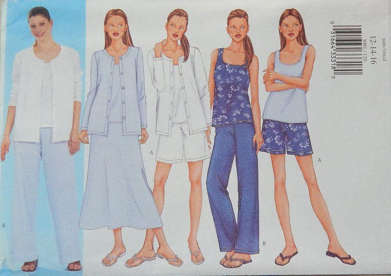 Misses Jacket, Top, Skirt, Shorts, and Pants Pattern - 2001 Butterick 3091 SIZE 18-20-22