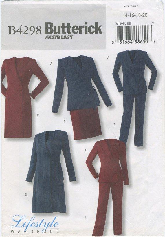 Coat Dress, Jacket, Skirt, Pants Ensemble Plus Size 14-20 Butterick 4298, Uncut