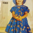 Girl's Dress Pattern, Short Sleeve Dress with Ruffle and Sun Hat, BUTTERICK 4383 SizeA 2-4X