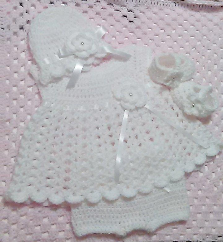 Crochet White Newborn Christening Dress Set  Baby Dress, Cloche Hat, Mary Jane Booties, Diaper Cover