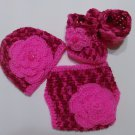 Crochet Pink Camo and Floral Diaper Cover Set in Hot Pink with Hat, Booties Newborn 0-3 Months