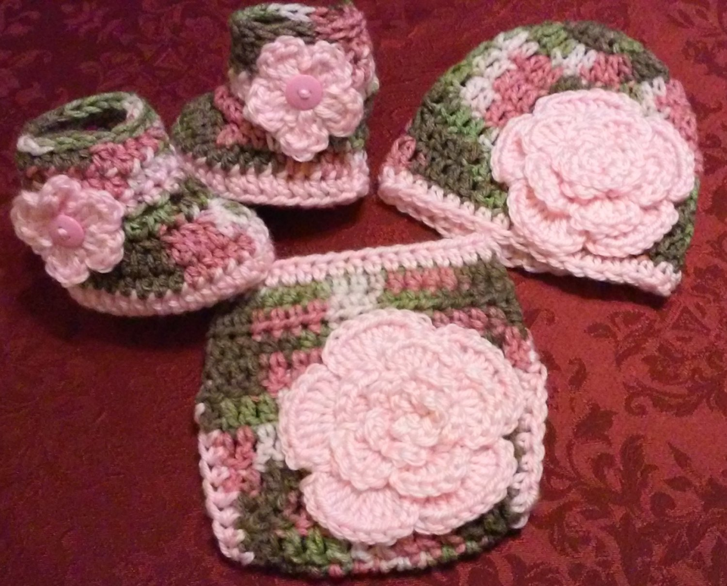 Crochet Pink Camo and Floral Diaper Cover Set in Baby Pink with Hat, Booties Newborn 0-3 Months