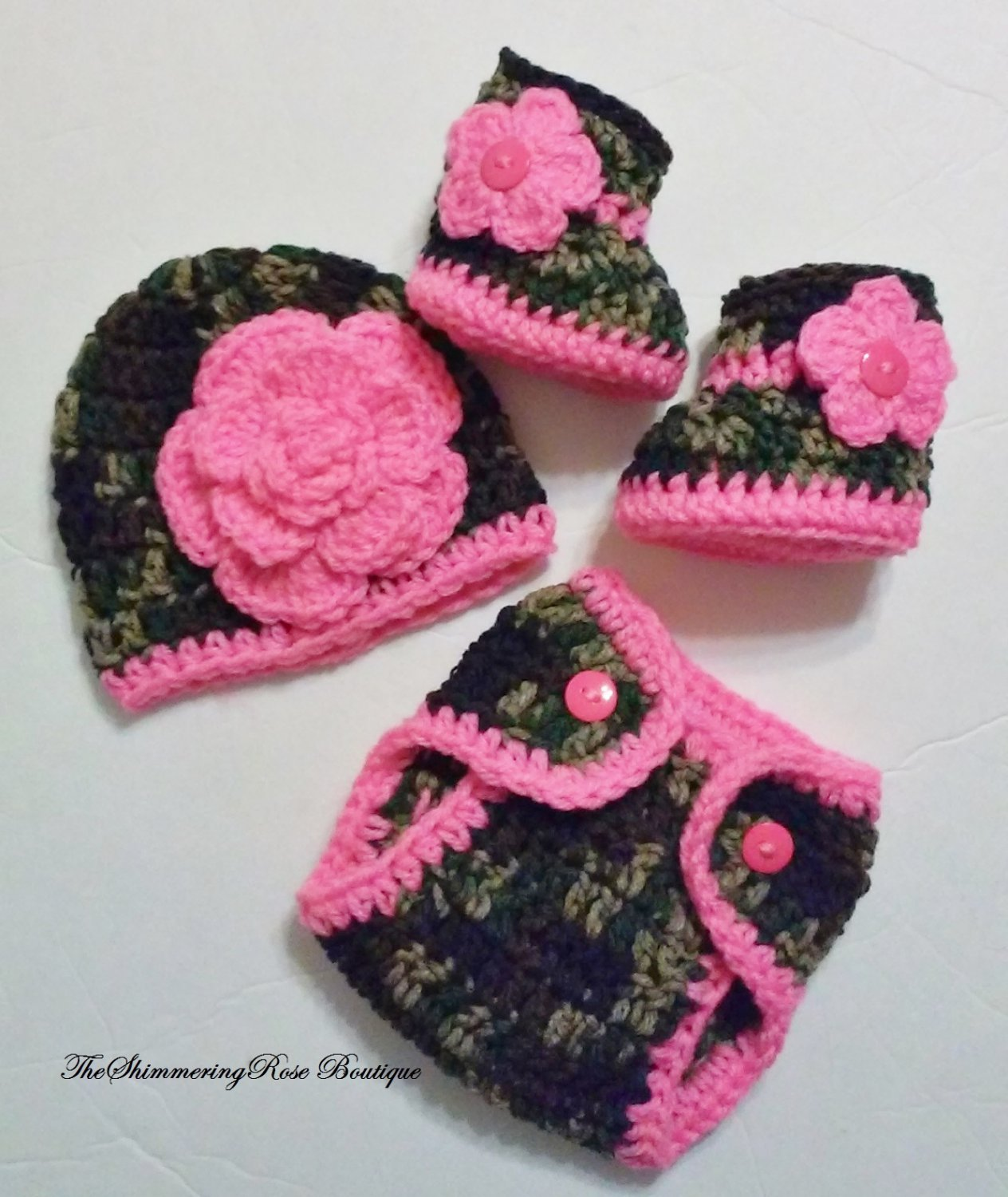 Crochet Dark Camo and Floral Diaper Cover Set in Bright Pink with Hat, Booties Newborn 0-3 Months