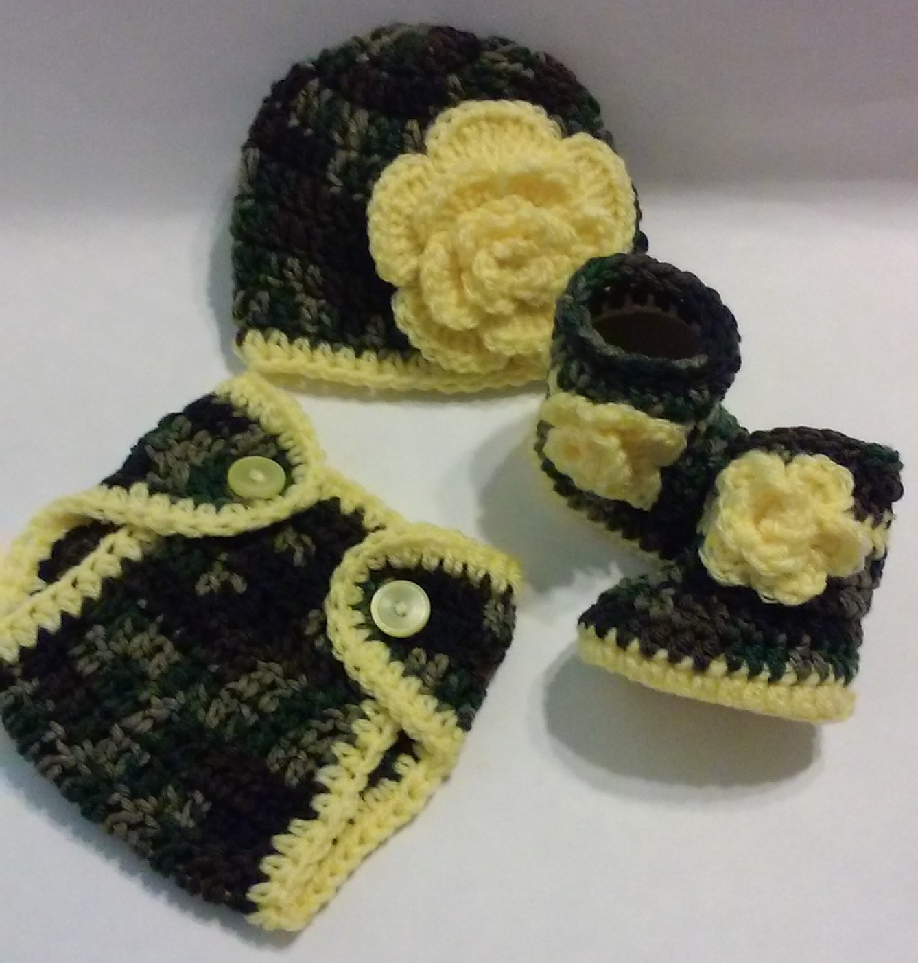 Crochet Dark Camo and Floral Diaper Cover Set in Bright Yellow with Hat, Booties Newborn 0-3 Months