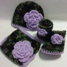 Crochet Dark Camo and Floral Diaper Cover Set in Purple with Hat, Booties Newborn 0-3 Months