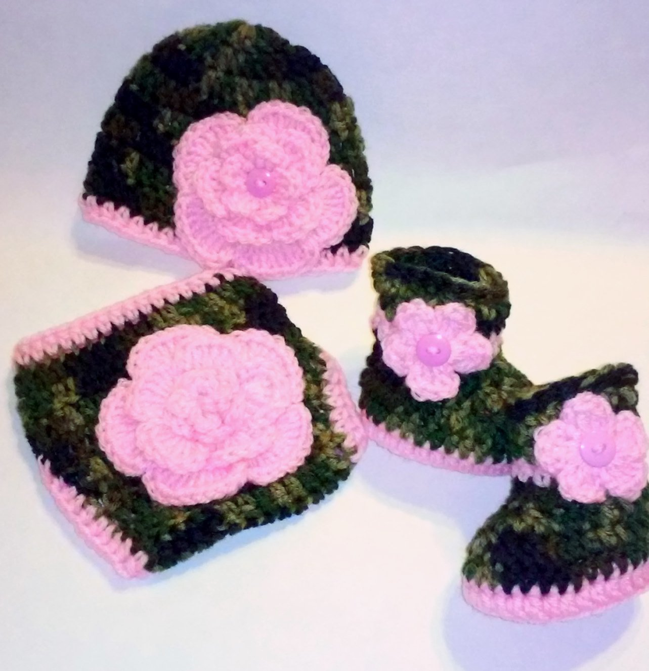 Crochet Dark Camo and Floral Diaper Cover Set in Baby Pink with Hat, Booties Newborn 0-3 Months