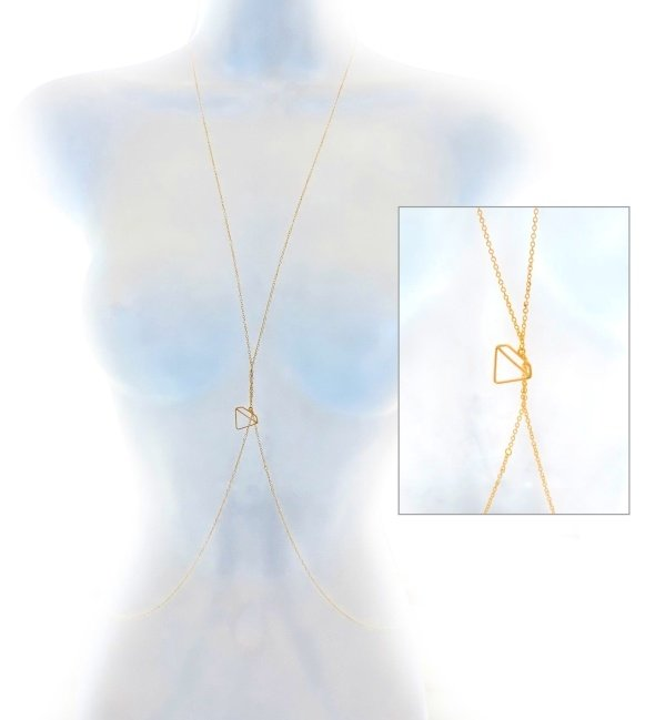 14 Gold Fill Body Necklace with Diamante Charm for Women by Eluxe Jewelry