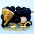 Love Bangles Trio Jewelry Set for Women in Black Onyx and Gold