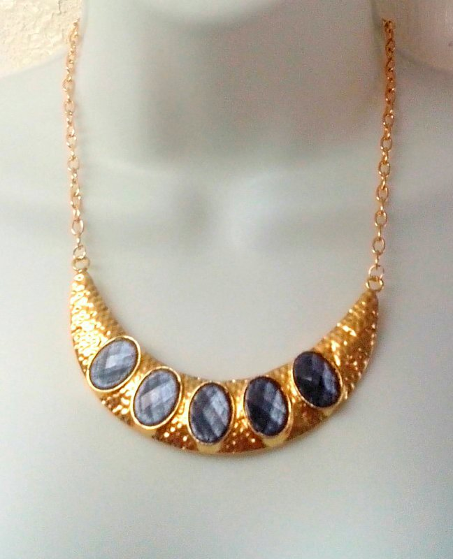 Gold Hammered Statement Necklace with Geode Druzy Gemstones by Eluxe Jewelry