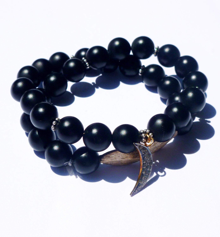 Pave Diamond and Black Onyx Wrap Bracelet with Crescent Moon