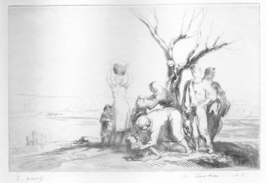 Stephen Csoka - Landscape with Figures - Artist Signed Proof