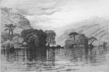 Samuel Colman   The Lakeside   Etching