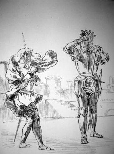 """Eugene Delacroix """"Hamlet terrifié par le fantôme de son père sur la terrasse"""""""