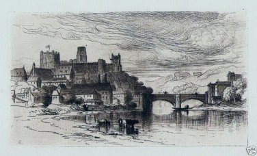 Durham England - Original Etching by Samuel Colman - 1880