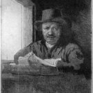 Rembrandt - Durand - Self Portrait at a Window - Etching - Durand after Rembrant