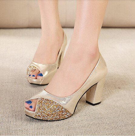 Comfortable Solid Color Rhinestone Peep Toe Chunky Heel Women Sandals