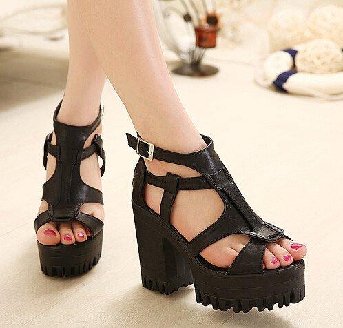 Popular Simple Preppy Style Peep Toe Back Zipper Pure Color Chunky Heel Sandals