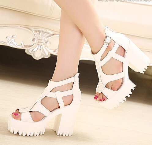 Popular Simple Preppy Style Peep Toe Back Zipper Pure Color Chunky Heel Sandals
