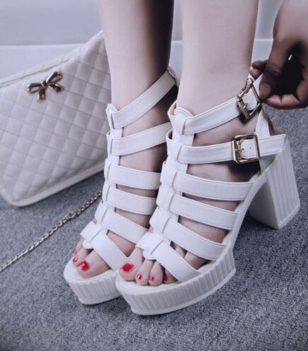 Roman Style Pure Color Hollow Out Peep Toe One-buckle Belt Chunky Heel Sandals