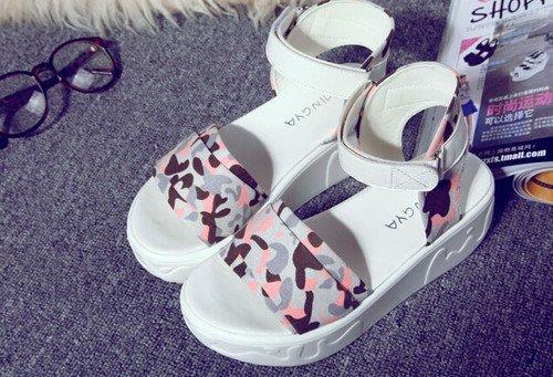 Leisure Pure Color Flower Pattern Velcro Peep Toe Sporty Wedge Women Sandals