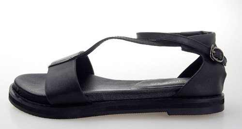 Summer Beach Fashion Star Pure Color One-buckle Belt Toe Clip Flat Heel Sandals