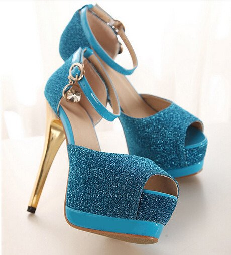 Summer New Coming European Style Pretty Sexy Pure Color One-buckle Belt Peep Toe High Heel Sandals