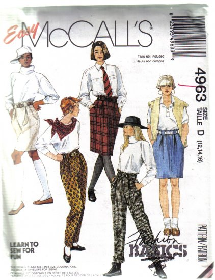 Misses McCall's 4963  Skirt Pants Shorts Sewing Pattern uncut