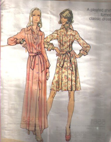 Misses� Vintage Dress Pattern  in 2 lenghths   Size 10 Simplicity 5909