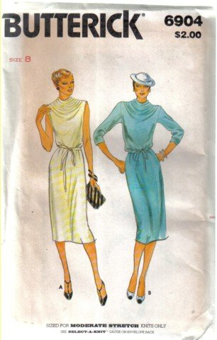 Misses� Butterick 6904 Vintage Dress Pattern For Moderate Stretch Knits  Size 8
