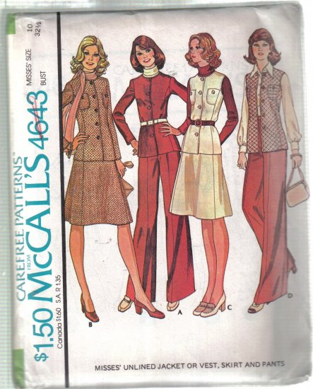McCall�s Misses� Unlined Jacket, Vest, Skirt and Pants Size 10 Pattern Uncut