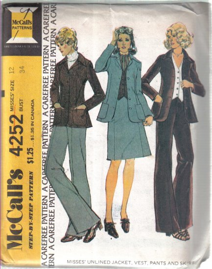Size 12 McCall�s Vintage Misses� Unlined Jacket, Skirt, Vest & Pants