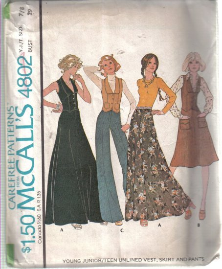 Size 7/8 Young Junior Vintage McCall's Skirt, Vest & Pants Pattern