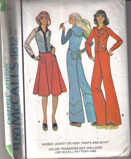 McCall�s Vintage 1975 Jacket, Vest, Skirt & Pants  Misses' 12 - uncut
