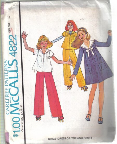 McCall�s Vintage 1975 Girl� Dress Top & Skirt   Pattern Size 10 Uncut