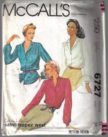 McCall�s 6727 Vintage Misses� Blouse Pattern Size 12