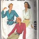 McCall's 6727 Vintage Misses' Blouse Pattern Size 12
