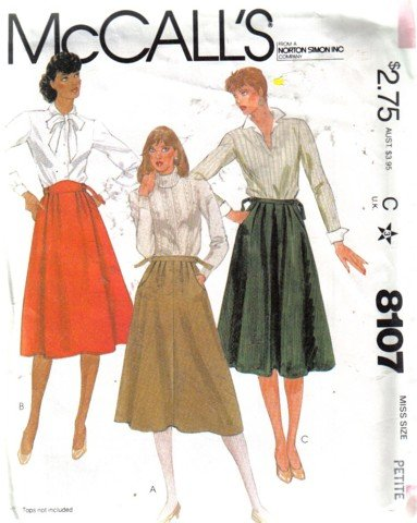 McCall�s Vintage Misses� Flared Skirts Pattern Size Petite 6 - 8 unuct