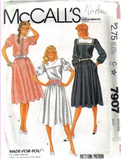 McCall�s Misses� Pullover Dress  Size 12 Uncut