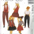 McCall's  6702 Girls' Lined Vest, Top, Skirt & Pants Pattern Size 10, 12, & 14 uncut