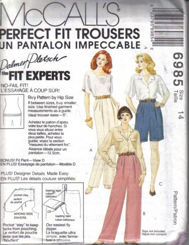 McCall�s Misses� Perfect Fit Trousers Pattern  Pants Shorts Fitting Shell Size 14 Uncut no 6985