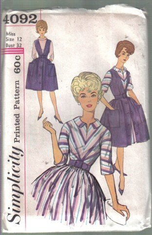 Simplicity 4092 Vintage Misses� One-Piece Dress & Jumper  Size 12 uncut