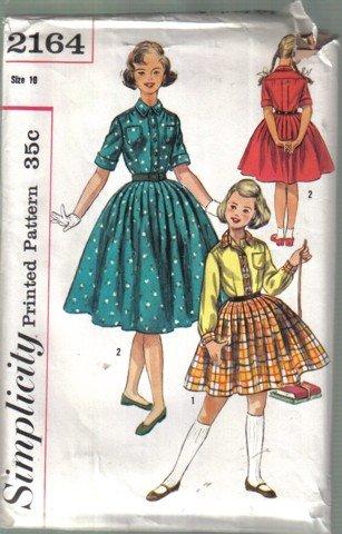 Simplicity Vintage Girls One-Piece Dress  Size 10 no, 2164