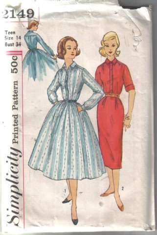 Simplicity 2149 Vintage Teen Age� Dress with a Wiggle and a Full Skirt Pattern  Size 14 uncut