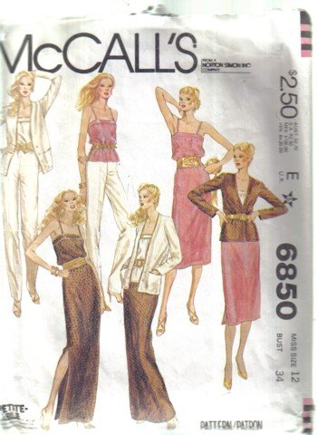 McCall�s Misses� Jacket, Skirt Pants and Camisole Pattern  Size 12 no 6850