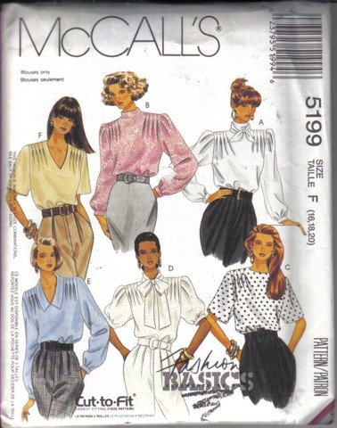 McCall�s Misses� Blouse with Shoulder Tucks and Scarf Pattern Size 16, 18, 20  Uncut